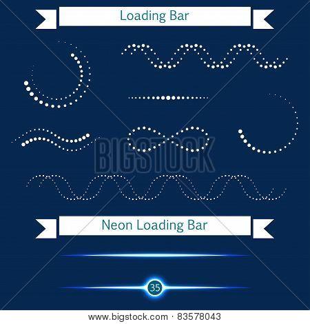 Set Of Modern Loading Bars On A Dark Background - Stock Vector.
