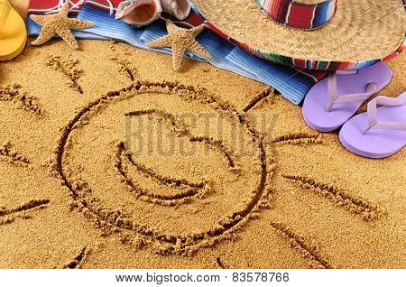 Mexico Smiling Beach Sun Drawing