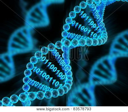 DNA molecules with binary code, 3d render