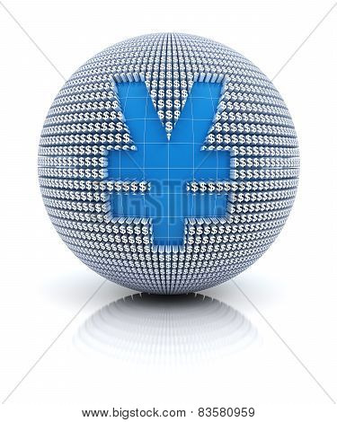 Yen or RMB icon on globe formed by dollar sign, 3d render
