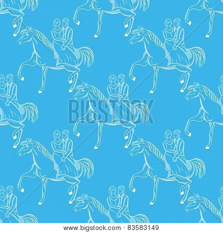 Vector Romantic Seamless Pattern On Blue Background