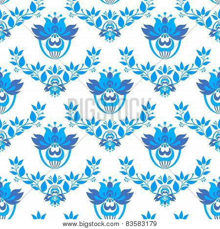 Vector Seamless Pattern In Style Gzhel