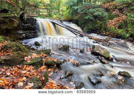 Upper Chapel Falls In Autumn - Upper Peninsula Pictured Rocks