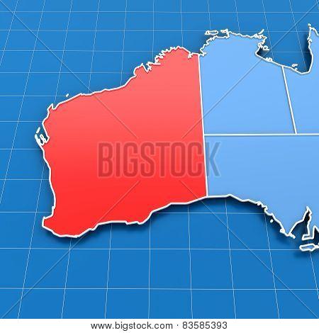 3d render of Western Australia map