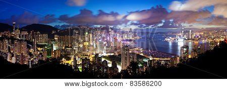 High resolution panoramic view of Hong Kong at night