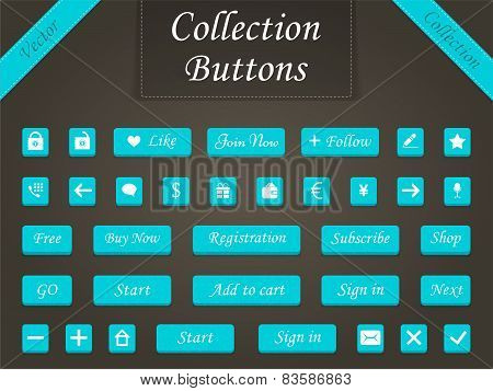Vector set of buttons and web elements for design websites and a