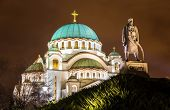 Karadjordje Monument and the Church of Saint Sava in Belgrade Serbia poster