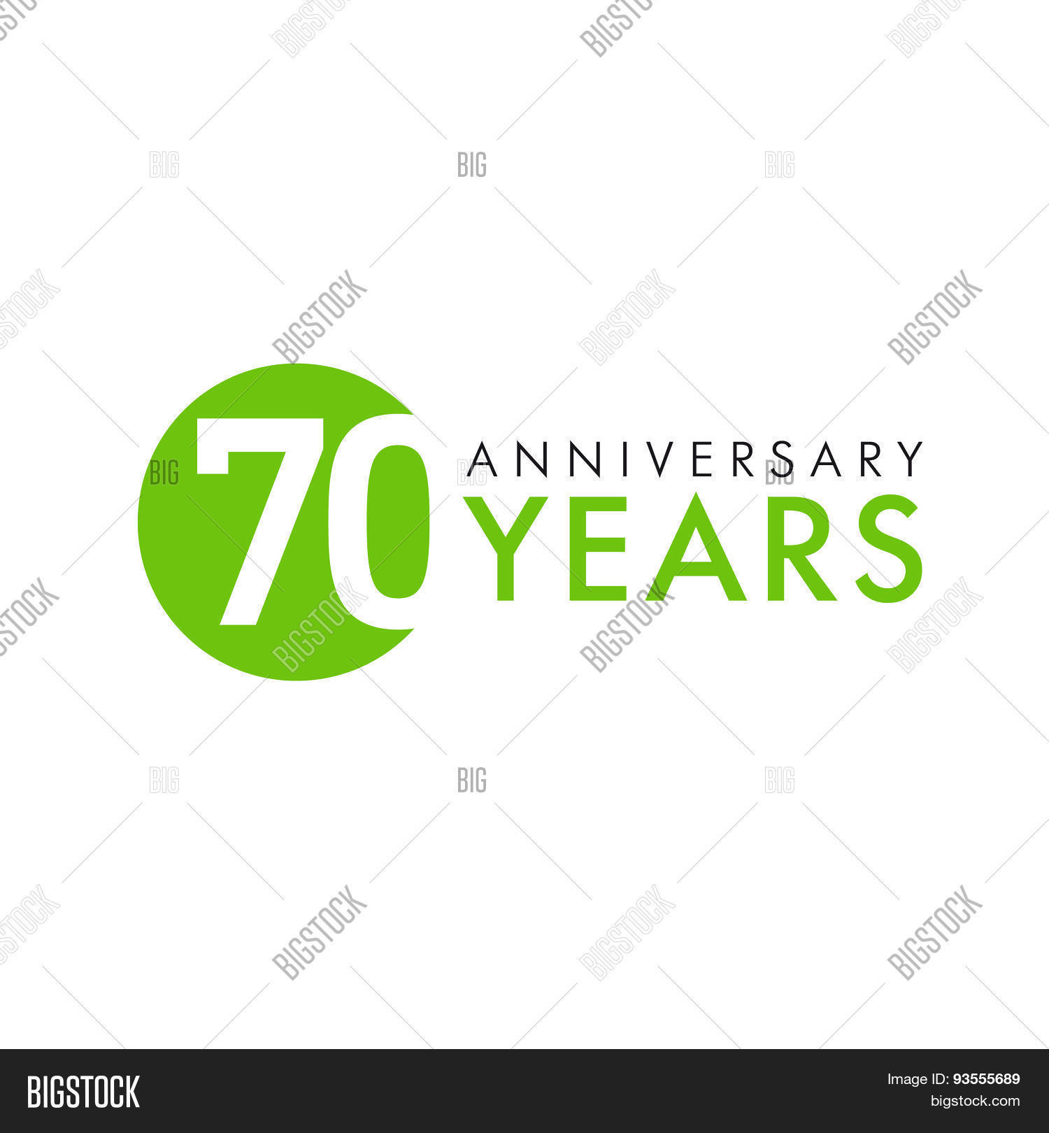 70 Years Old Round Logo Anniversary Year Of Th Vector Banner Numbers Birthday