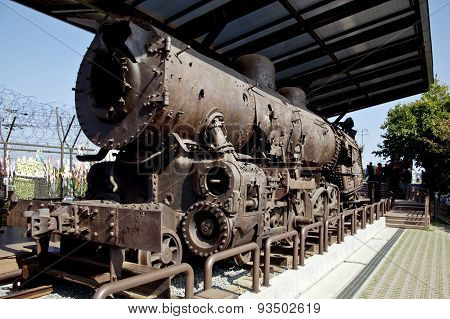 Remains of steam train destroyed during the Korean War