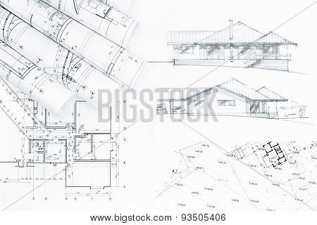 Sketch And House Plan Blueprints