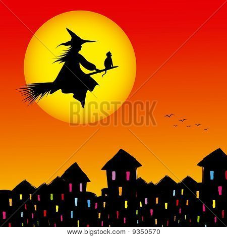 Halloween background silhouette of a witch flying in a broom with cat poster