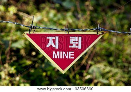 Land mine warning sign at DMZ