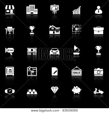 Asset And Property Icons With Reflect On Black Background