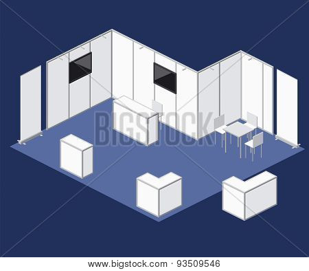 Fair Exhibition Blank Stand Booth Vector Elements