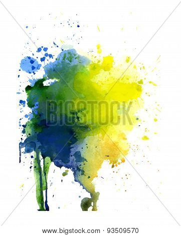 Spot Yellow, Blue And Green Watercolor Vector Banner