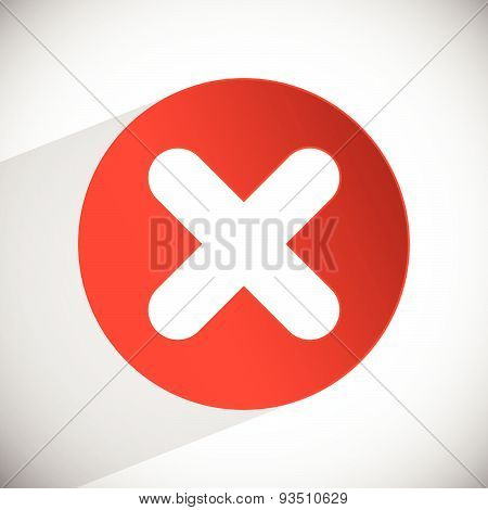 Red Cross Vector. Delete, Remove, Quit Icon.