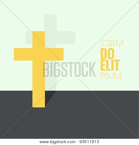 Crucifix. Symbols of Christianity and forgiveness. minimal. Outline. flat shadows poster