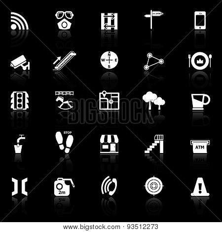 Pathway Related Icons With Reflect On Black Background