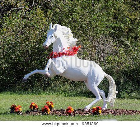 Rearing White Horse Figure