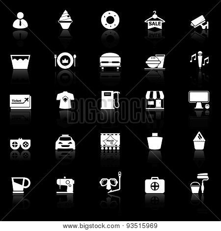 Franchisee Business Icons With Reflect On Black Background