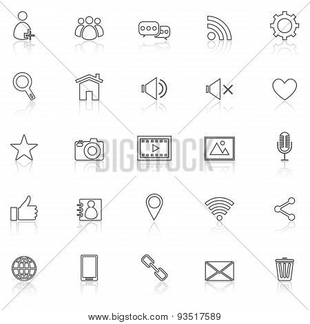 Chat Line Icons With Reflect On White