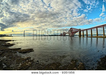 The Bridges, Firth Of Forth, Near Edinburgh, Scotland, At Sunset, From South Queensferry