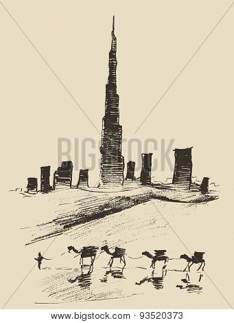 Caravan of camels with Dubai City skyline silhouette on background Hand drawn vector illustration poster