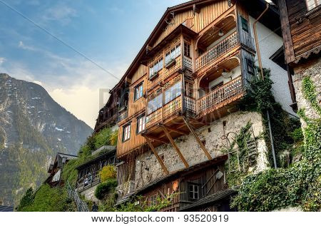 Wooden alpine house in Hallstatt Austria.