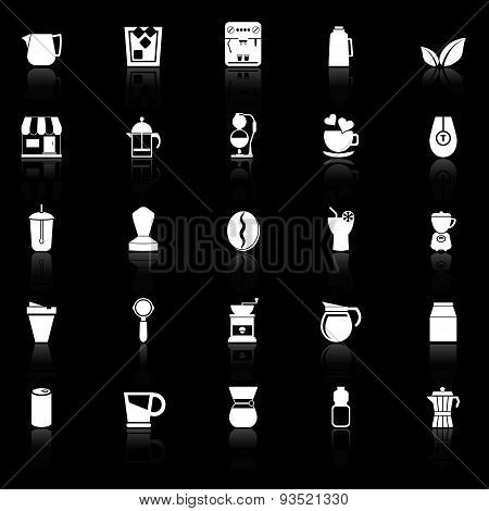 Coffee And Tea Icons With Reflect On Black Background