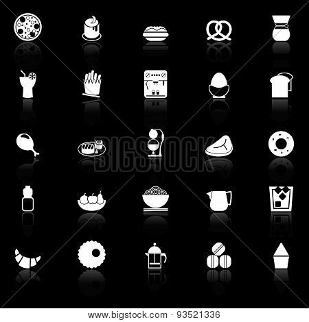 Easy Meal Icons With Reflect On Black Background