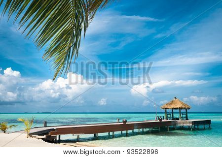 Maldivian house on a tropical island