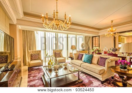 luxury living room and furniture with upscale design and decoration