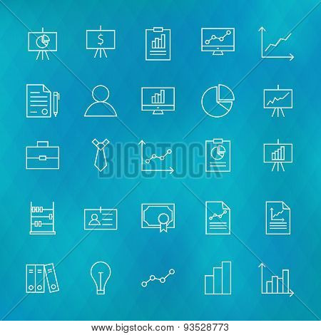 Business Chart Graph And Finance Line Icons Set Over Polygonal Blurred Background
