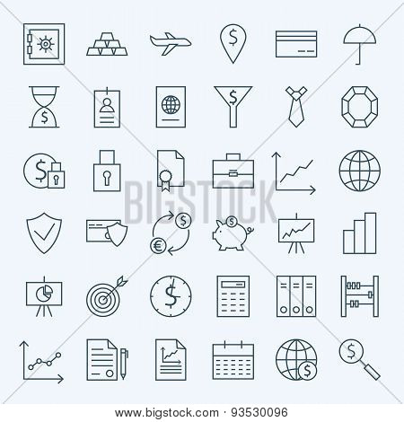 Line Money Finance And Banking Icons Set