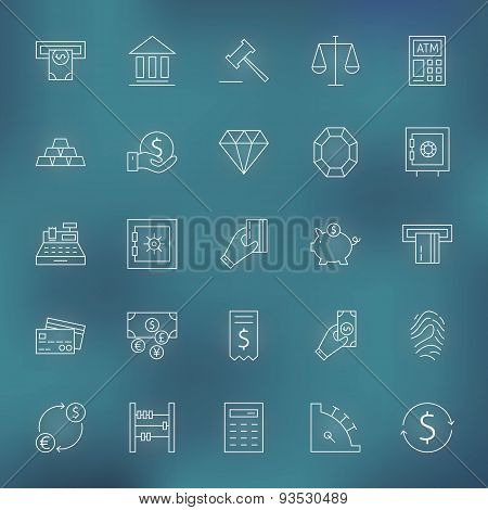 Money Finance Banking Line Icons Set