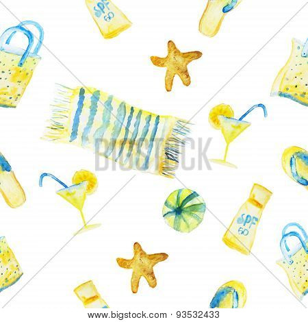 Vector Watercolor Summer Seamless Pattern With Cover, Shell, Cocktail Snd Ball Isolated On White Bac