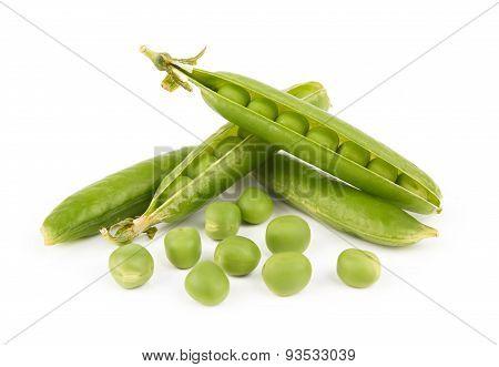 Fresh green pea pod on white background poster
