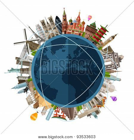 travel, journey vector logo design template. trip around the world or historical monuments icon. fla