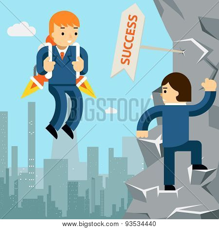 Rise to success. Businessman with rocket