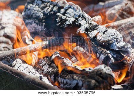 Flames of a campfire close up