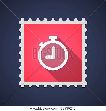 Illustration of a red mail stamp icon with a timer poster