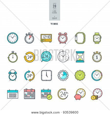 Set of line modern color icons on the theme of time