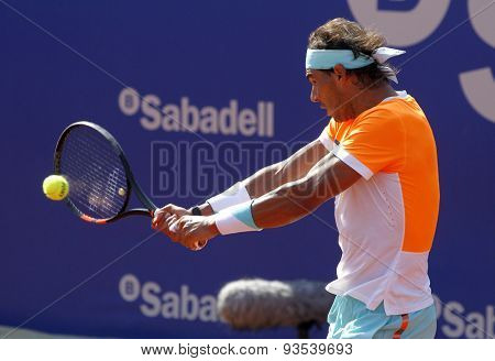 BARCELONA - APRIL, 23: Spanish tennis player Rafa Nadal in action during a match of Barcelona tennis tournament Conde de Godo on April 23 2015 in Barcelona