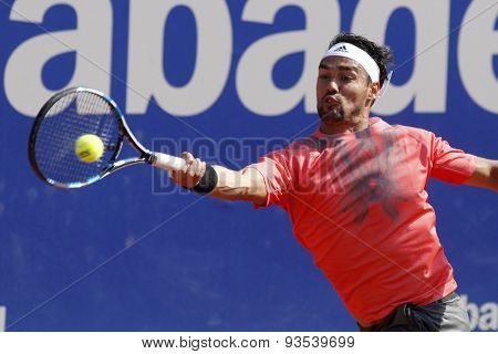 BARCELONA - APRIL, 23: Italian tennis player Fabio Fognini in action during a match of Barcelona tennis tournament Conde de Godo on April 23 2015 in Barcelona
