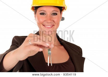 Smiling Female Building Contractor