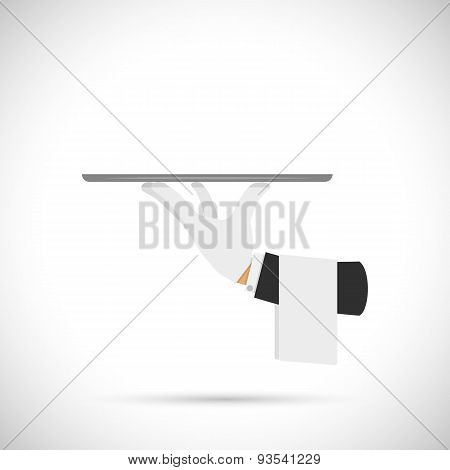 Waiter hand with tray and towel.