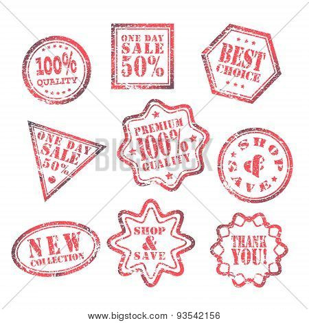 set of One Day Sale Label red