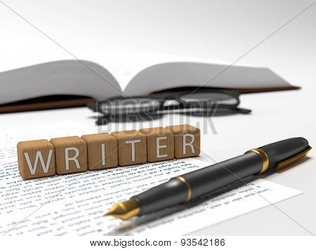 Writer - dices containing the word writer a book glasses and a fountain pen. poster