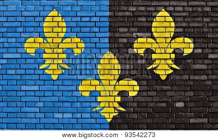 Flag Of Monmouthshire Painted On Brick Wall