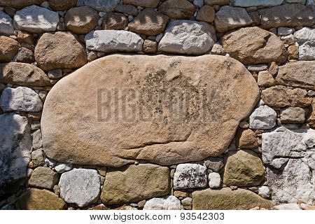Kanbe-ishi Stone In The Wall Of Imabari Castle, Japan